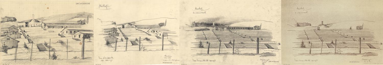 Les croquis  du camp-haut de Bertrand Monnet témoignent de l'état du site au moment des débats relatifs à sa protection entre 1945 et 1955. Dès le départ, l'impact de l'implantation du mémorial comme point d'appel est étudié dans un environnement où les Blocks sont maintenus partiellement, en totalité ou pas du tout.
