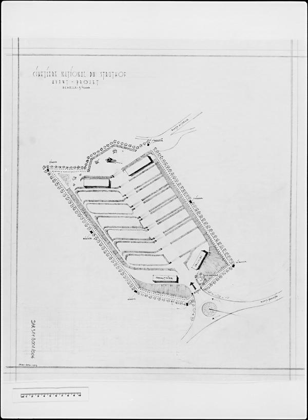 Plan de localisation du projet de Bertrand Monnet d'une fosse monumentale (fonds Denkmalarchiv).