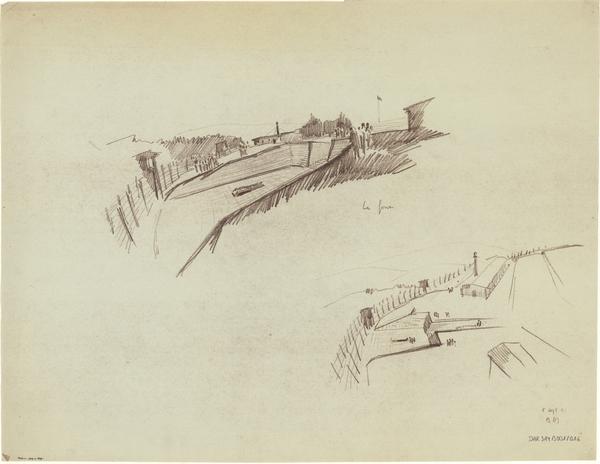 Croquis de Bertrand Monnet pour la réalisation d'une fosse monumentale, 1951 (fonds Denkmalarchiv).