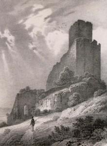 Vue du château d'Ortenberg à Scherwiller. Auteur : Jacques Rothmuller, 1839 (Phot. et coll. BNU Strasbourg)