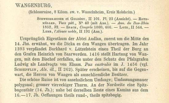 Notice sur Wagenbourg tirée de Franz Xaver Kraus,  Kunst und alterthum in Elsass-Lothringen, Strassburg : C. F. Schmidts Univ. Buchhandlung, 1876 (Service régional de l'archéologie)