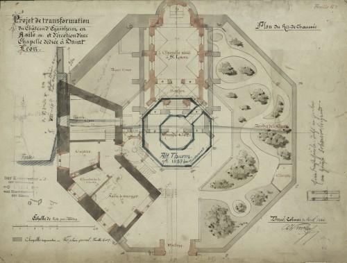 Projet de transformation du château d'Éguisheim et asile et de construction d'une chapelle dédiée à Saint-Léon. Auteur : Charles Winkler, 1886 (Denkmalarchiv, DRAC Alsace