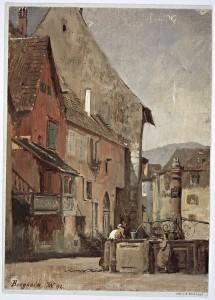 Vue de la place du Docteur Pierre Walter à Bergheim. Auteur : Karl Weysser, 1892 (Denkmalarchiv, DRAC Alsace)