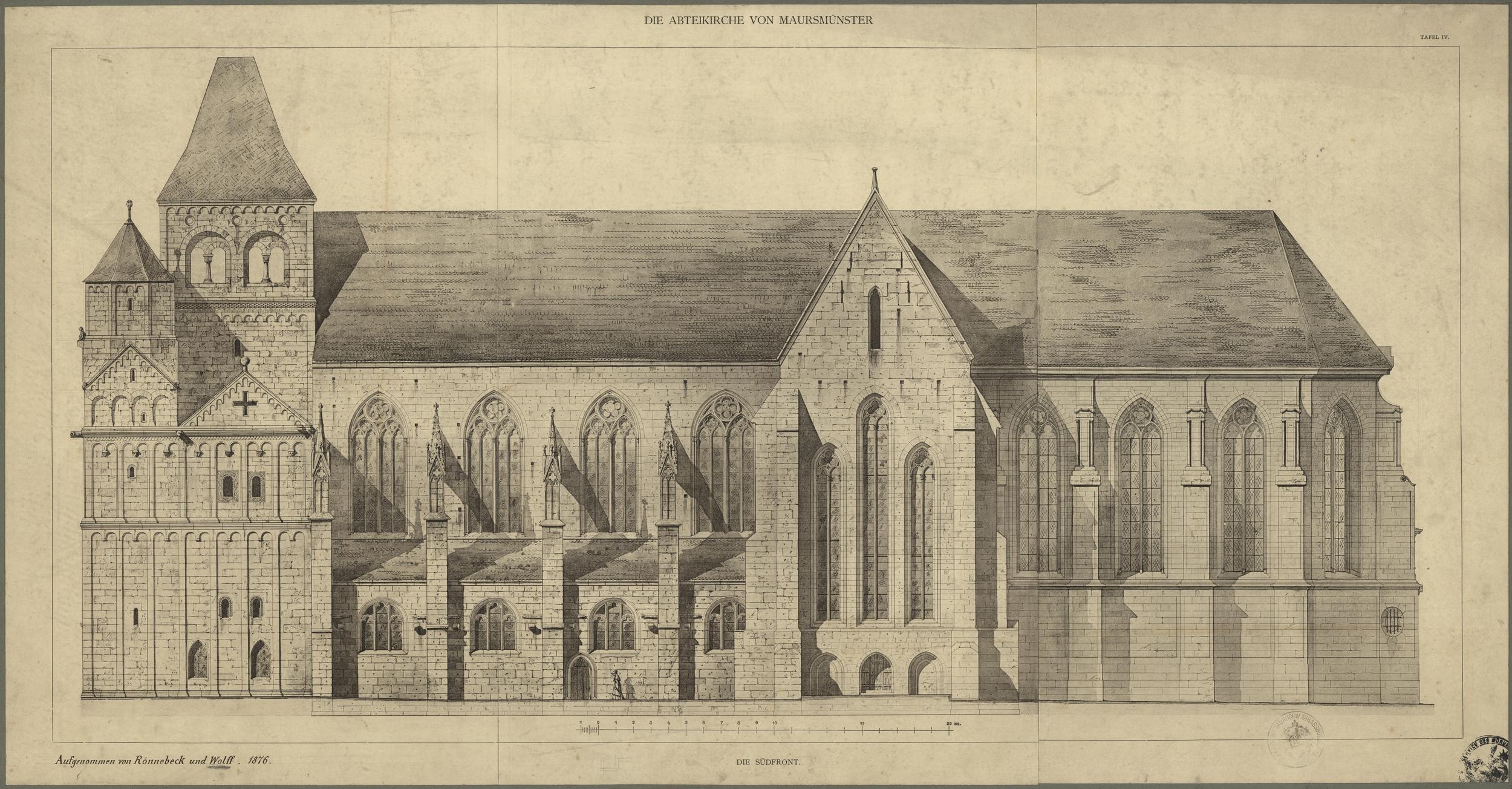 Élévation de l'abbatiale de Mauersmünster. Auteurs : Rönnebeck et Félix Wolff, 1876 (Denkmalarchiv, DRAC Alsace)