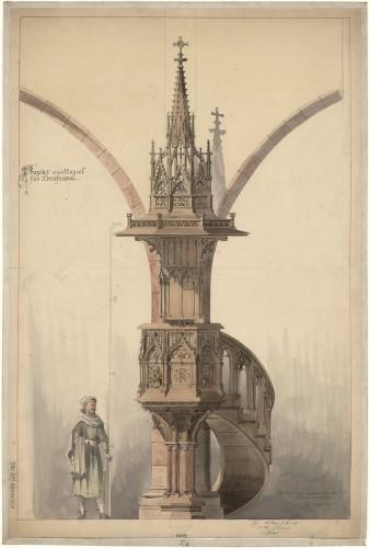 Église Saint-Gall à Domfessel, projet de chaire à prêcher. Auteur : Charles Winkler, 1890 (Denkmalarchiv, DRAC Alsace)