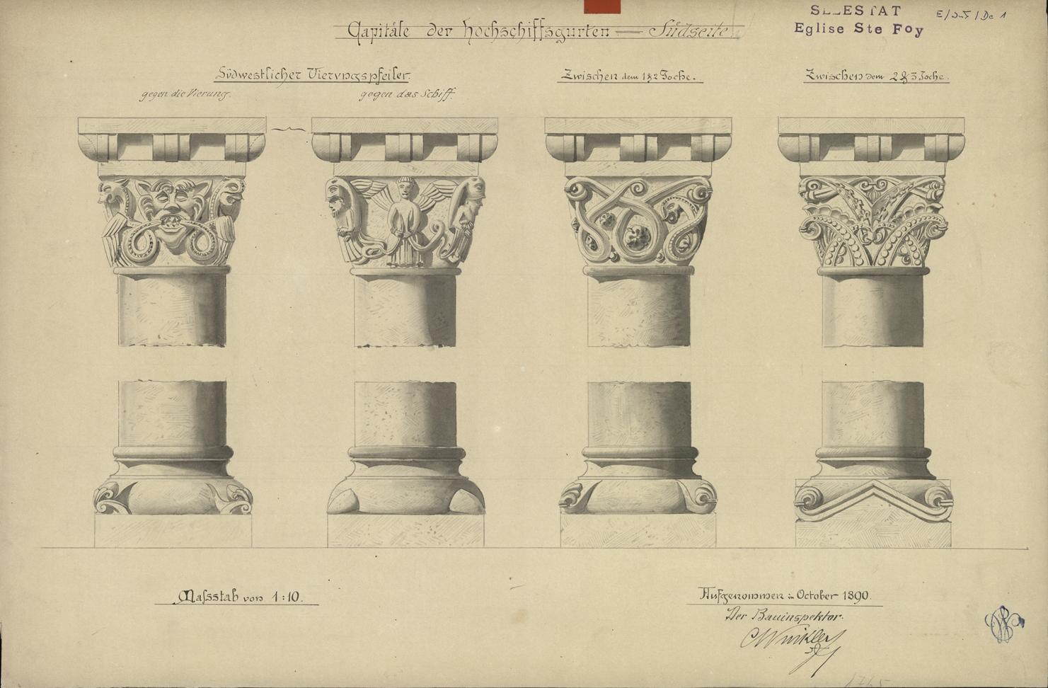 Église Sainte-Foy à Sélestat, chapiteaux de la nef. Auteur : Charles Winkler, 1890 (Denkmalarchiv, DRAC Alsace)