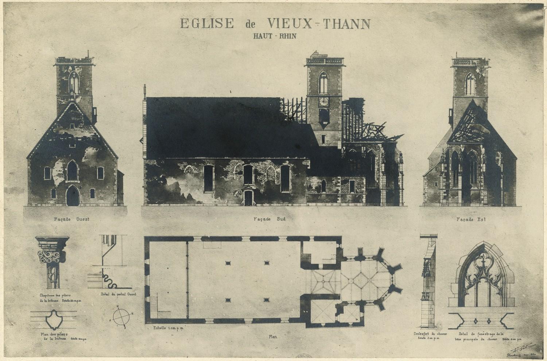 Église Saint-Dominique à VIeux-Thann. Auteur : Paul Gélis, 1920 (Denkmalarchiv, DRAC Alsace)