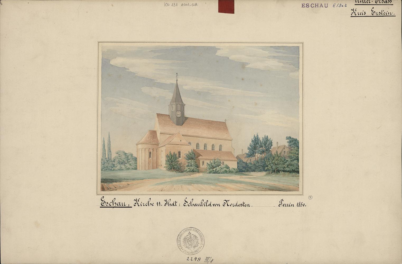 Église Saint-Trophime à Eschau. Auteur : Charles Perrin, 1850 (Denkmalarchiv, DRAC Alsace)