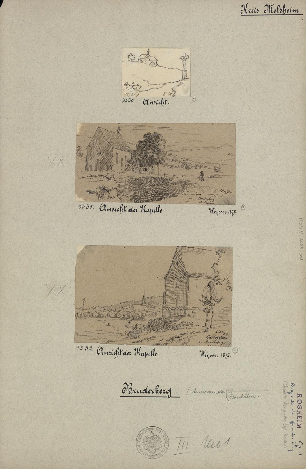 Chapelle de la Vierge-des-Sept-Douleurs à Rosheim. Auteur : Karl Weysser, 1872 (Denkmalarchiv, DRAC Alsace)
