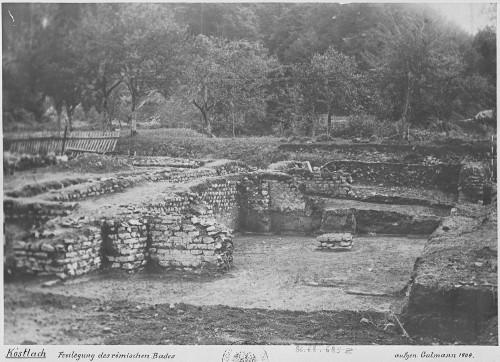 Vue de la villa gallo-romaine de Koestlach. Auteur : Gutmann, 1904 (Denkmalarchiv, DRAC Alsace)