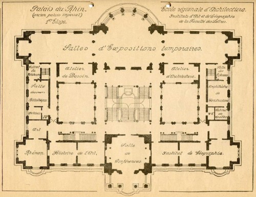 Plan de École régionale d'architecture à Strasbourg. S.n., 1922 (École nationale supérieure d'architecture de Strasbourg)