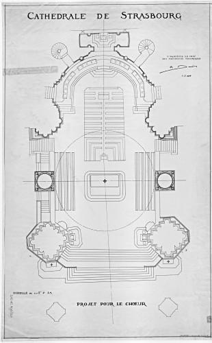 Projet d'aménagement du chœur de la cathédrale de Strasbourg. Auteur : Robert Danis, 1928 (Denkmalarchiv, © DRAC Alsace)