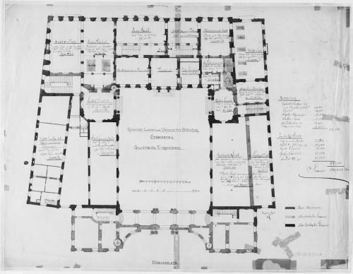 Plan du rez-de-chaussée du Palais Rohan à Strasbourg, projet d'aménagement en université. S.n., 1880 (Denkmalarchiv, DRAC Alsace)