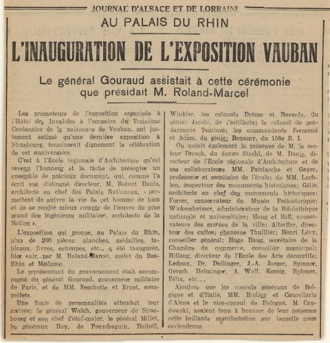 Article relatif à l'exposition Vauban (Archives départementales du Bas-Rhin, 178 AL 130)