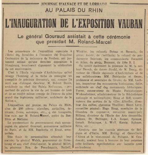 Article relatif à l'exposition Vauban (Archives départementales du Bas-Rhin, 178 AL 130)