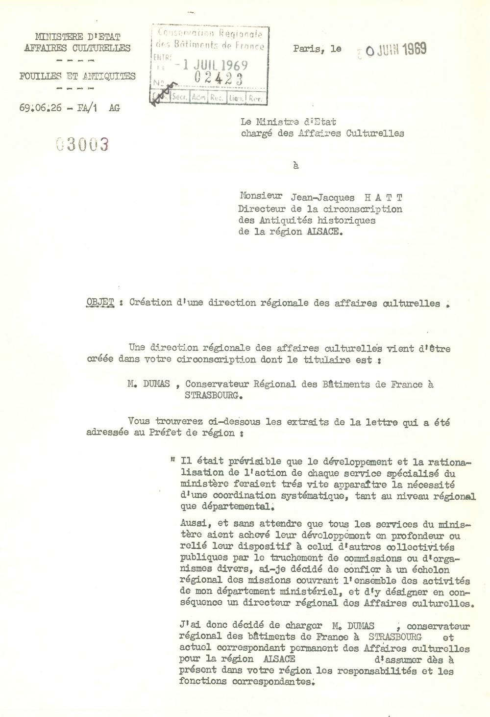 Circulaire du 30 juin 1969 relative à la création d'une direction régionale des affaires culturelles en Alsace