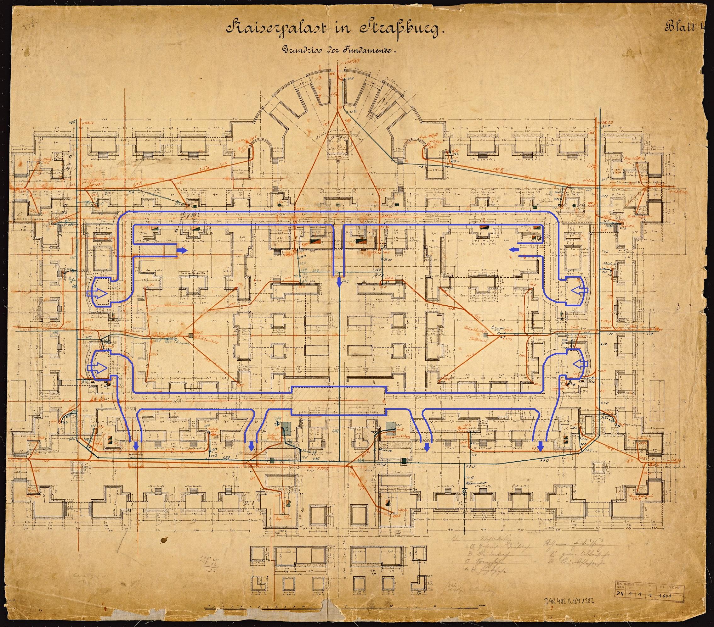 Plan des galeries du niveau inférieur (fonds Denkmalarchiv, © DRAC Alsace)