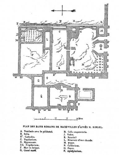 Plan du site gallo-romain de Mackwiller en cours de dégagement. Auteur: Jean-Pierre Eugène Ringel. Source: Congrès archéologique de France, XXVIe session, à Strasbourg, p. 496