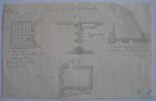 Plans levés de certains espaces du site gallo-romain de Mackwiller. Auteur: Jean-Pierre Eugène Ringel, s. d. Musée de Saverne.