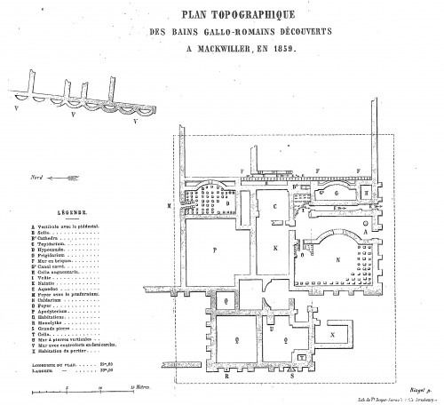 Plan du site gallo-romain de Mackwiller. Auteur : Pasteur Ringel, 1859. Source : Bulletin de la SCMHA, 1858-1860