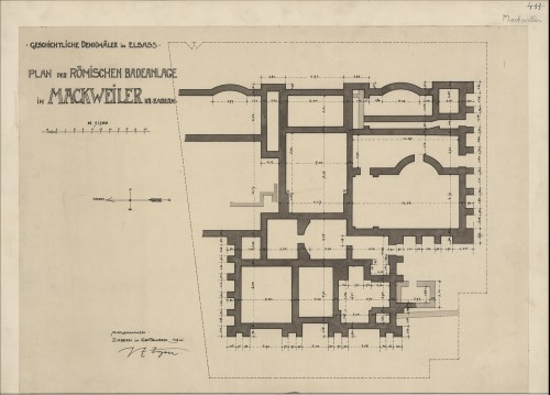 Plan du site gallo-romain de Mackwiller. Auteur : Paul Ernest Zigan, septembre 1911 (Denkmalarchiv, © DRAC Alsace) .