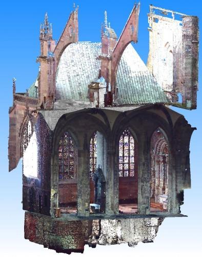 Nuage de points du sous-sol, du rez-de-chaussée et des voûtes de la chapelle Saint-Laurent après traitement. Auteur : T. Landes (Insa de Strasbourg)