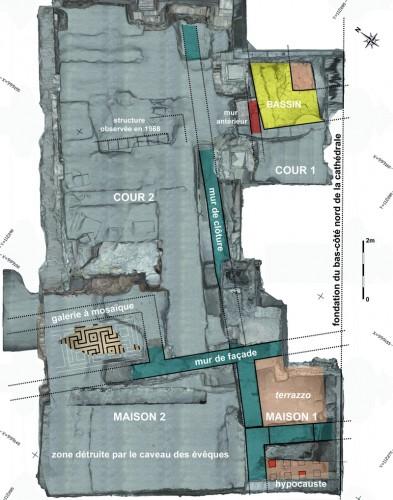 Plan du sous-sol de la chapelle Saint-Laurent avec indication des vestiges antiques. Auteurs : C. Gaston, J.-J. Bigot (Inrap), T. Landes (Insa de Strasbourg)
