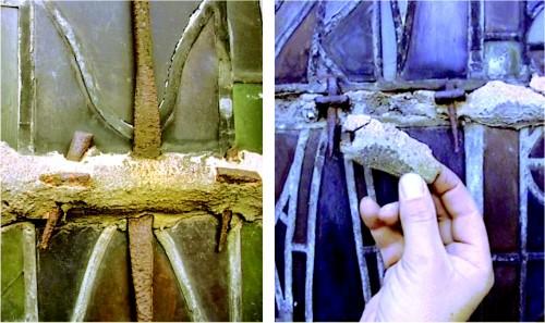 État des plombs et des scellements de mortier avant la dépose des verrières (DRAC Alsace)