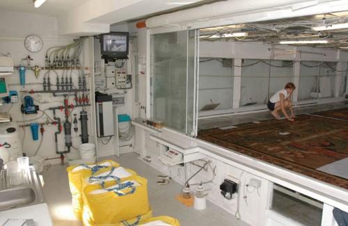 Local de nettoyage des tapisseries par aspersion. Dans la partie supérieure sont situées les buses permettant de projeter un brouillard d'air et d'eau) au-dessus des tapisseries. L'eau est ensuite recueillie par aspiration sous le treillis. Chaque opération est suivie par des caméras et contrôlée par ordinateur (Manufacture royale de tapisseries De Wit)