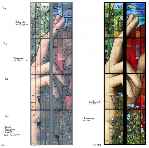 Projet et rendu final, détail de la main droite. Cliché : atelier Parot