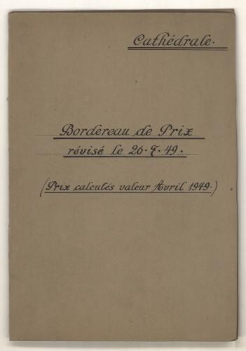 Tarifs des interventions de conservation et de restauration sur la cathédrale, 1949 (archives CRMH, DRAC Alsace)