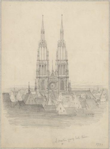 Vue imaginaire de la façade ouest de la cathédrale s'élevant au-dessus des toits de la ville. Les deux flèches sont tirées d'une interprétation du dessin de Schinkel, mais reposent sur les tours aujourd'hui visibles et issues d'un plan ultérieur. Auteur : S. Martin, d'après C. Perrin (Denkamalrchiv, DRAC Alsace)