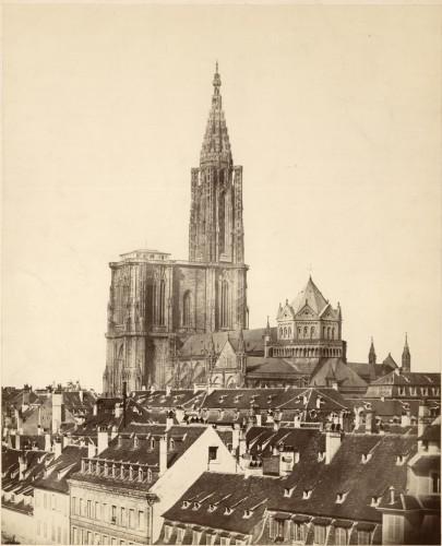 Photomontage montrant la tour de croisée, 1865 (Denkmalarchiv, DRAC Alsace)